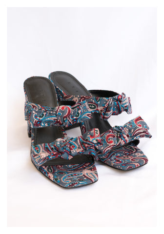Paisley Double Ribbon Heels Sandals Blue - whoami