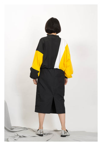 Parka Open Collar Cropped Top Yellow