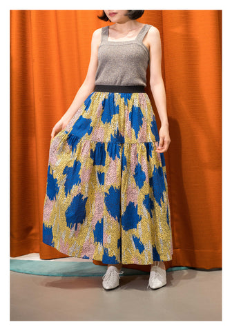Pattern Dot Tiered Skirt Yellow