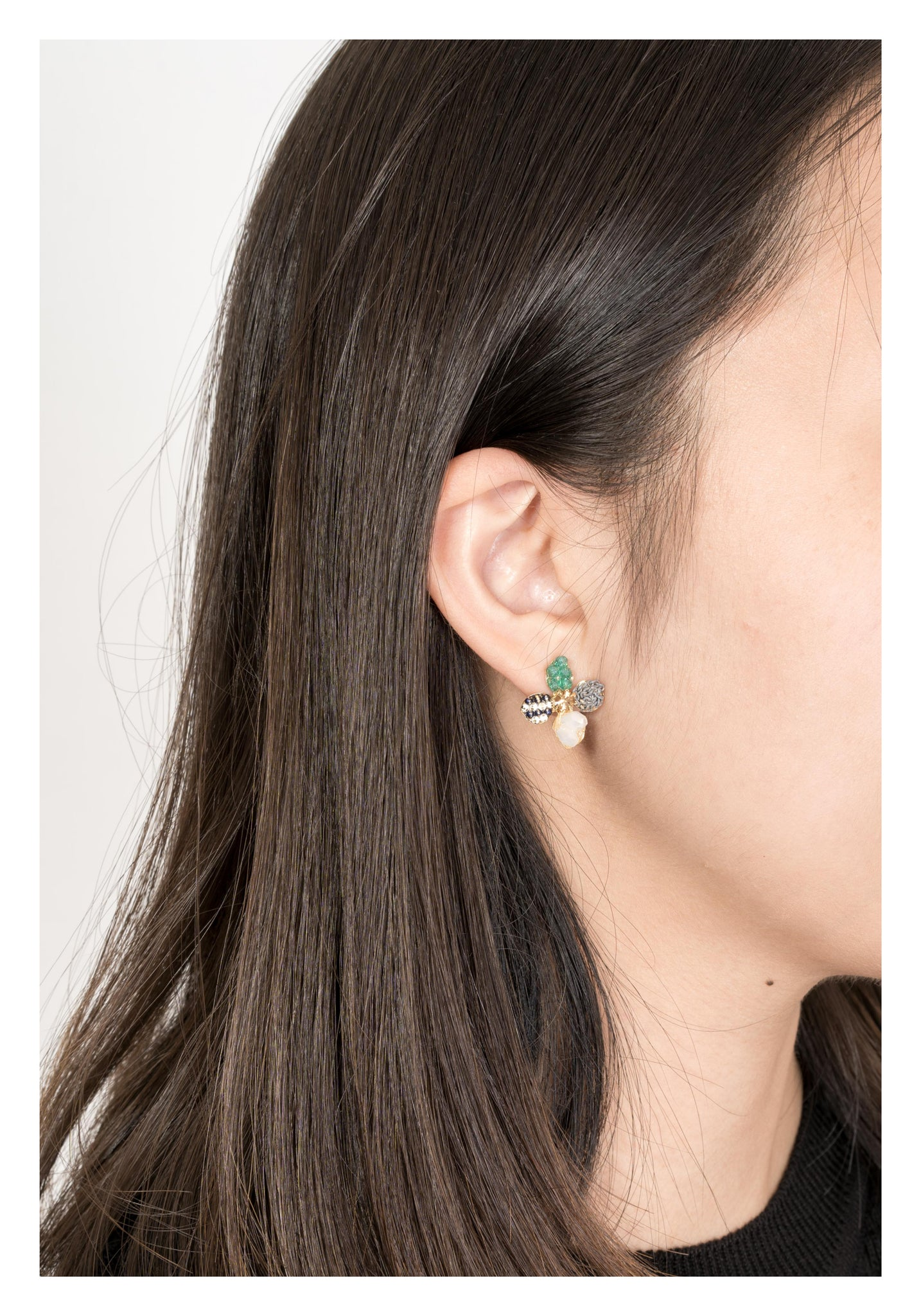 Mixed Gem And Chain Flower Earrings Green - whoami