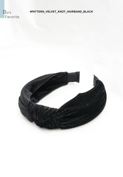 Pattern Velvet Knot Hairband Black - whoami