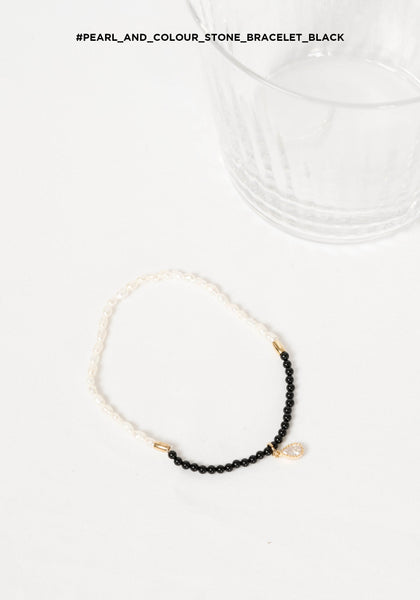 Pearl and Colour Stone Bracelet Black
