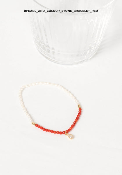 Pearl and Colour Stone Bracelet Red
