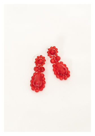 Playful Sparkle Gem Earrings Red - whoami