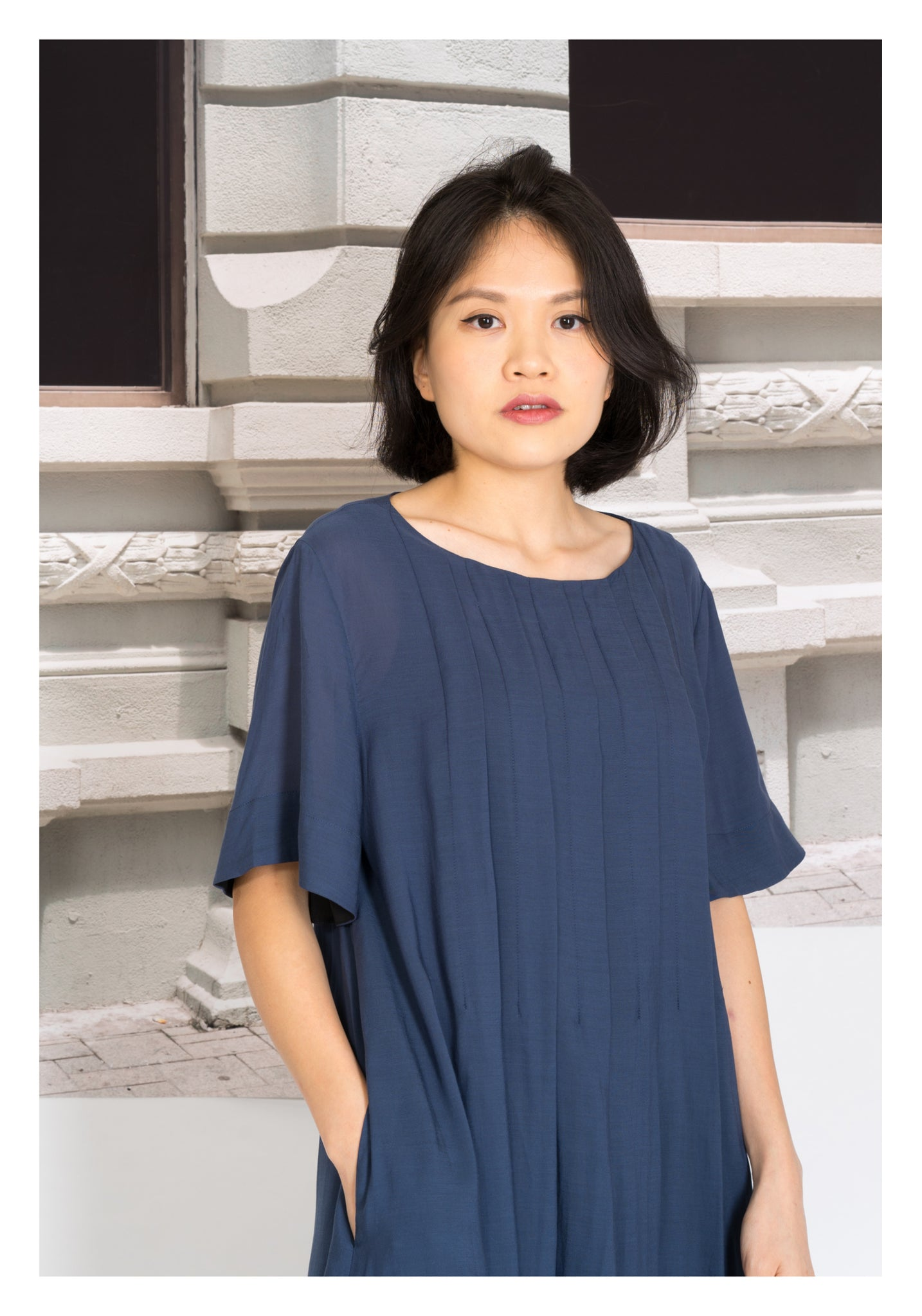 Pleats See Through Long Top Navy - whoami