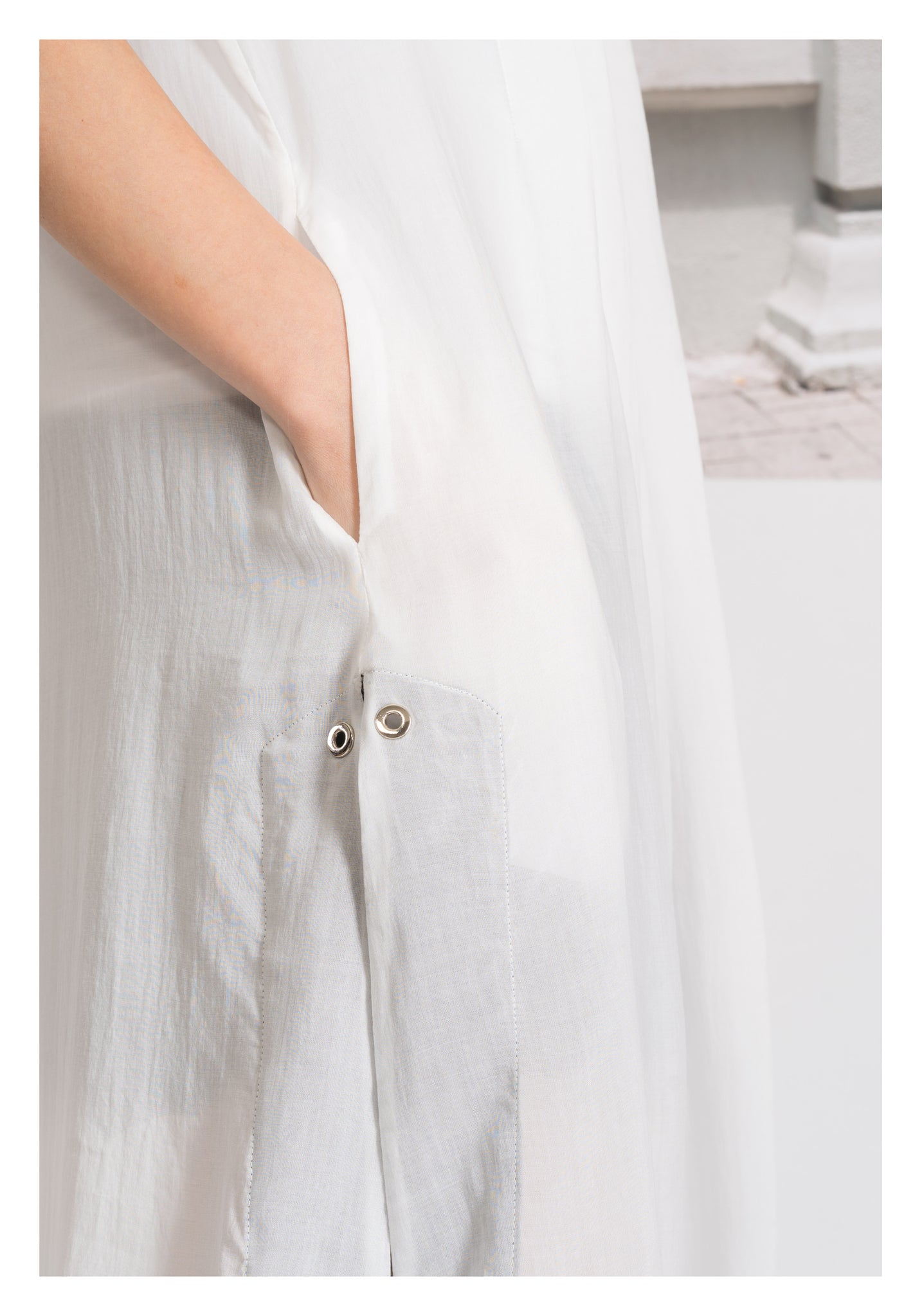 Pleats See Through Long Top White - whoami