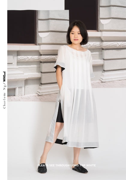 Pleats See Through Long Top White