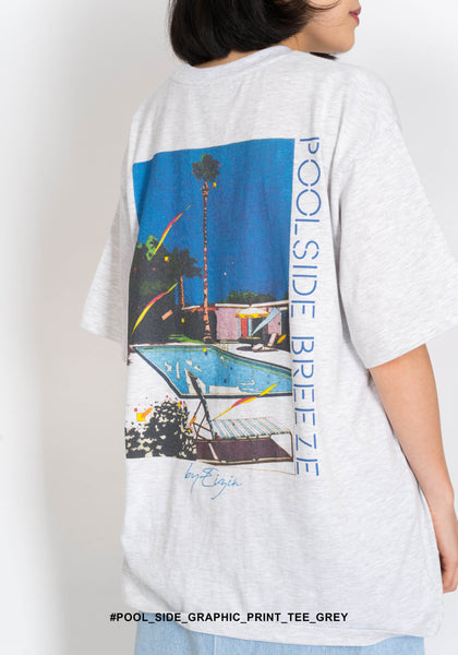 Pool Side Graphic Print Tee Marble Grey - whoami