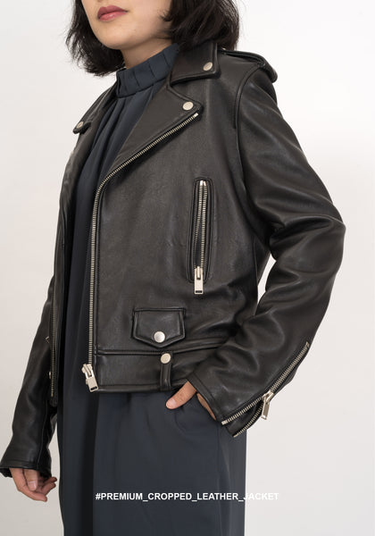 Premium Cropped Leather Jacket - whoami