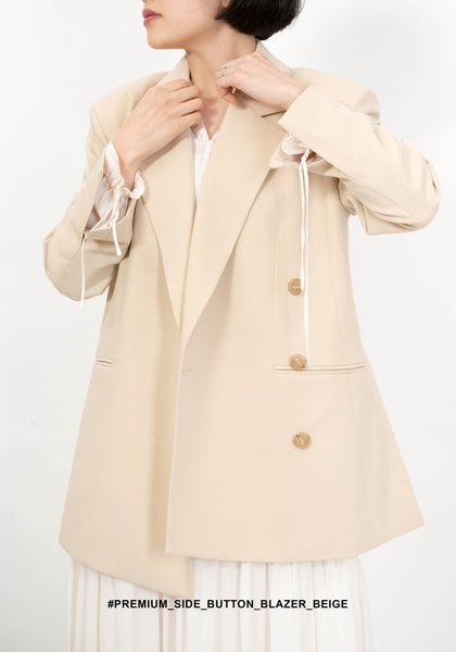 Premium Side Button Blazer Beige - whoami