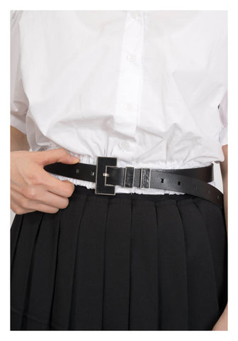 Outline Buckle Leather Belt Black - whoami