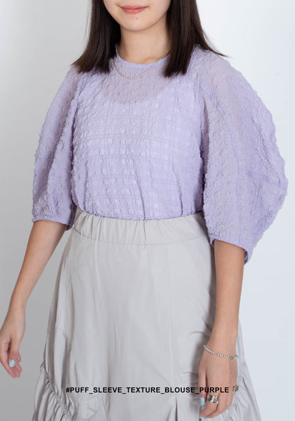 Puff Sleeve Texture Blouse Purple - whoami