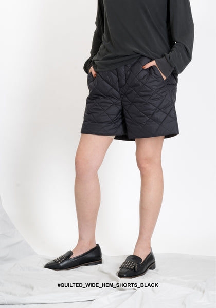 Quilted Wide Hem Shorts Black - whoami
