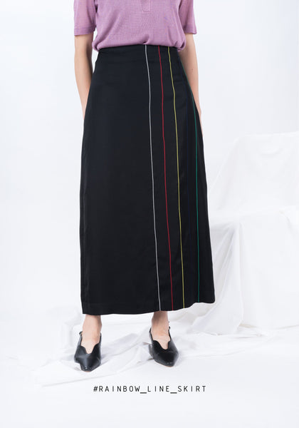 Rainbow Line Skirt Black - whoami