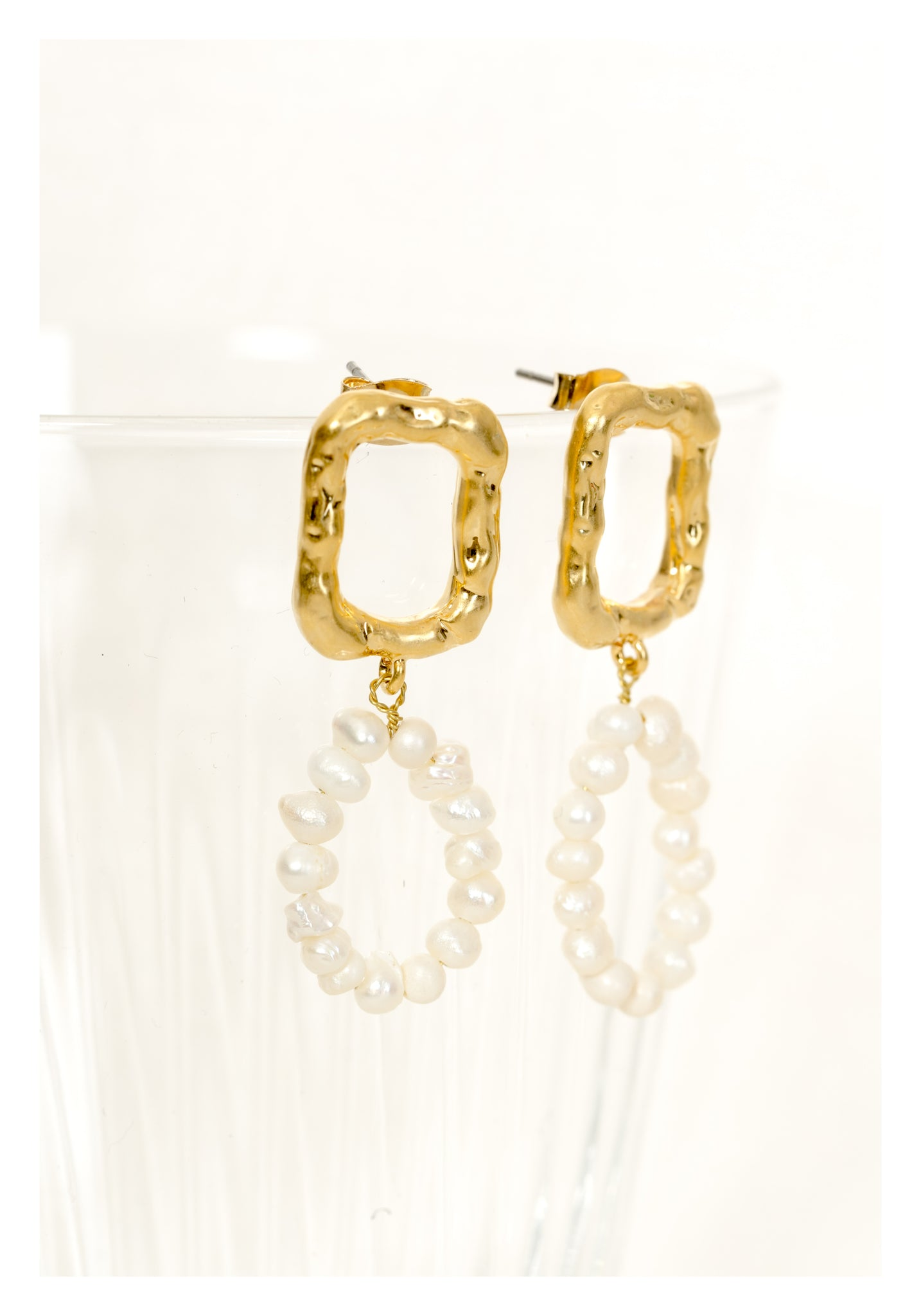 Rectangle Pearl Donut Earrings Gold - whoami