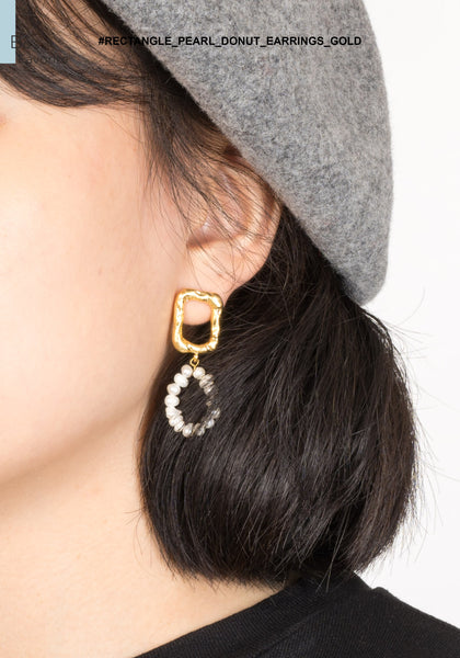 Rectangle Pearl Donut Earrings Gold