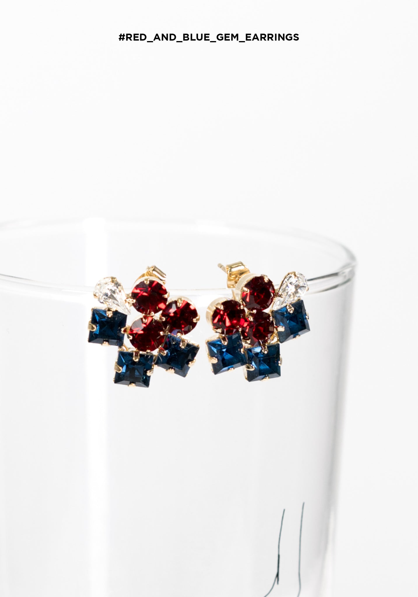 Red And Blue Gem Earrings - whoami