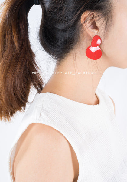 Red Double Plate Earrings - whoami