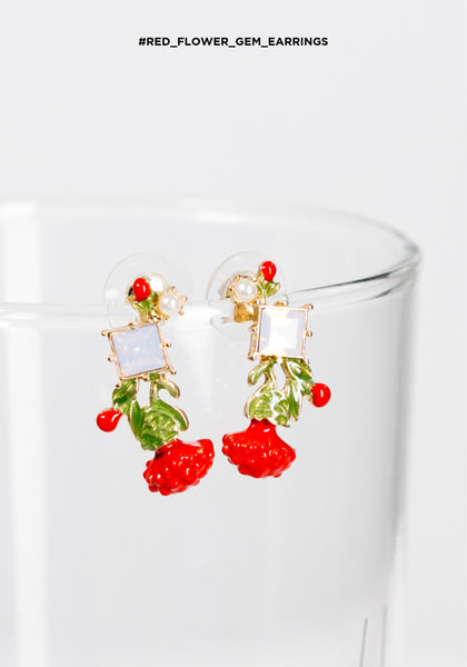 Red Flower Gem Earrings - whoami