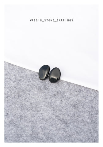 Resin Stone Earrings Black