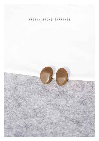 Resin Stone Earrings Caramel - whoami