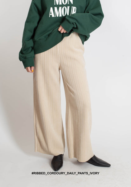 Ribbed Cordoury Daily Pants Ivory - whoami