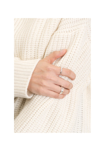 925 Silver Texture Thin Ring - whoami