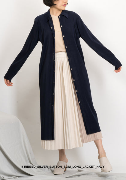 Ribbed Silver Button Slim Long Jacket Navy