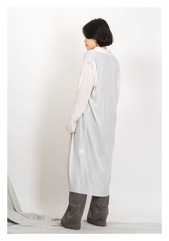 Ribbed Silver Button Slim Long Jacket White - whoami