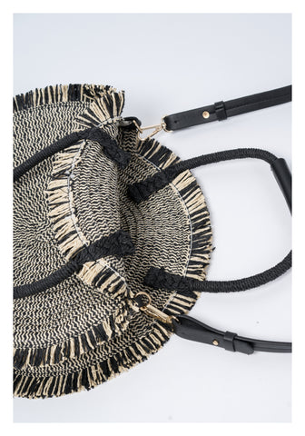 Round Rattan Handle Bag Black