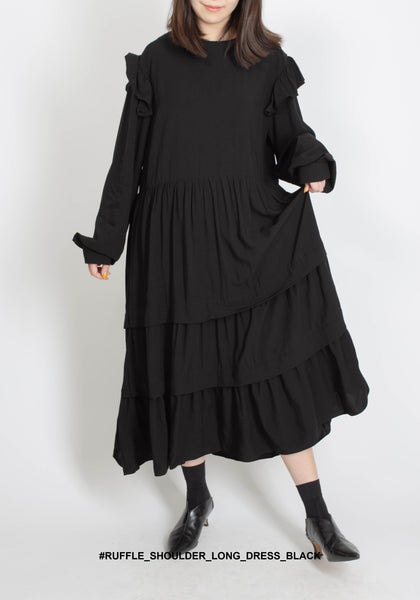 Ruffle Shoulder Long Dress Black - whoami