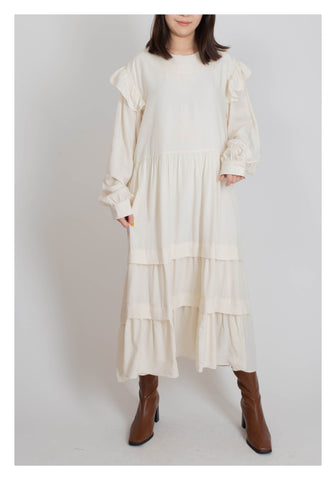 Ruffle Shoulder Long Dress Ivory - whoami