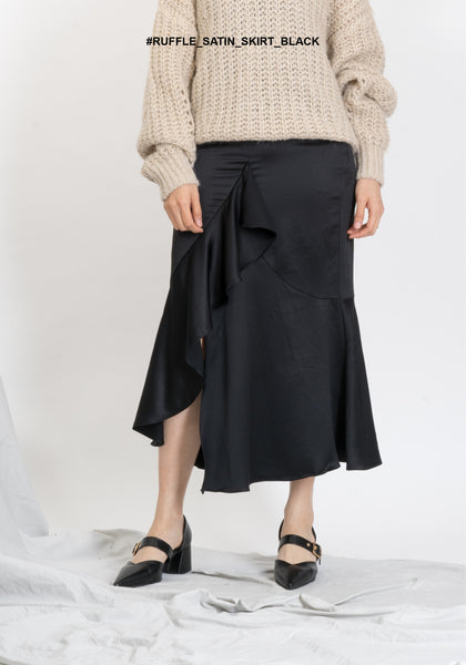 Ruffle Satin Skirt Black - whoami