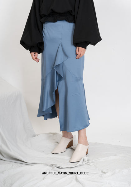 Ruffle Satin Skirt Blue - whoami