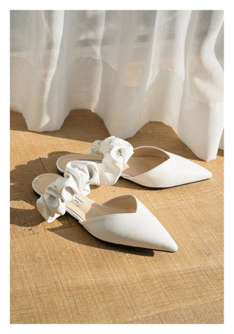 Ruffle Strap Pointed Mules White