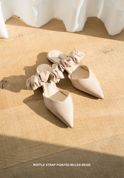 Ruffle Strap Pointed Mules Beige