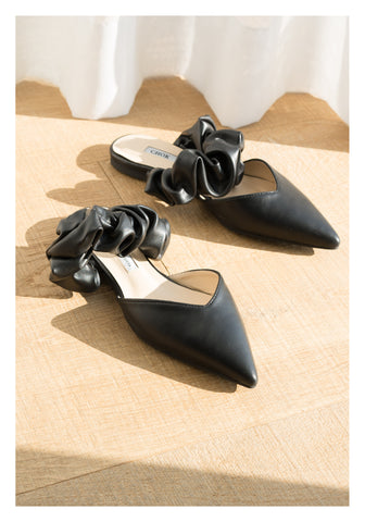Ruffle Strap Pointed Mules Black