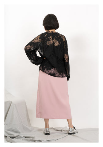 Raglan Sleeve Lace Blouse Black