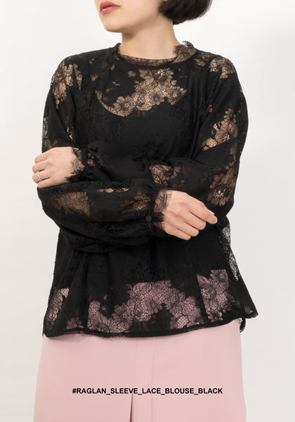 Raglan Sleeve Lace Blouse Black - whoami