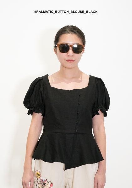 Romantic Button Blouse Black