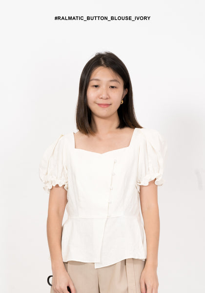 Romantic Button Blouse Ivory