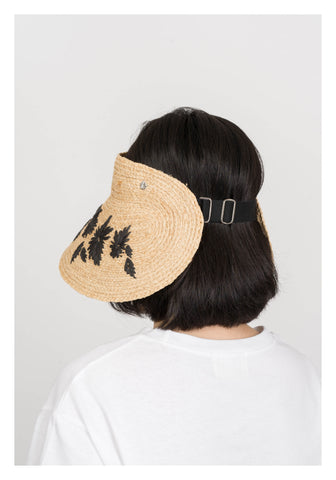 Rattan Black Abstract Floral Visor - whoami