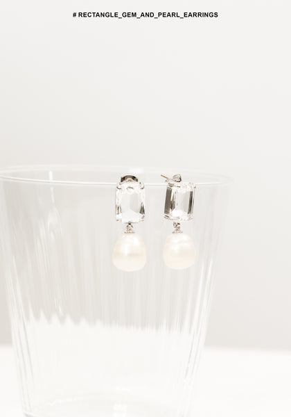 Rectangle Gem and Pearl Earrings - whoami