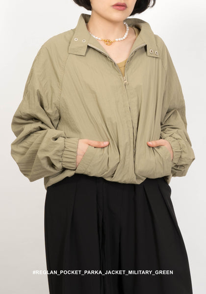 Raglan Sleeve Pocket Parka Jacket Military Green - whoami