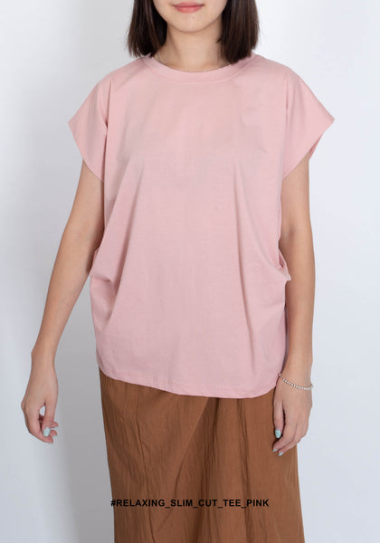 Relaxing Slim Cut Tee Pink - whoami