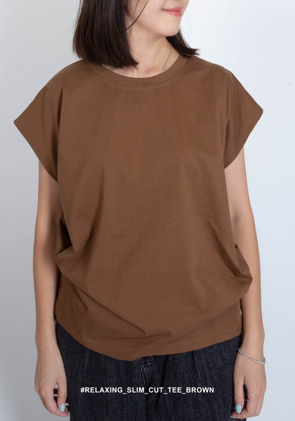 Relaxing Slim Cut Tee Brown - whoami