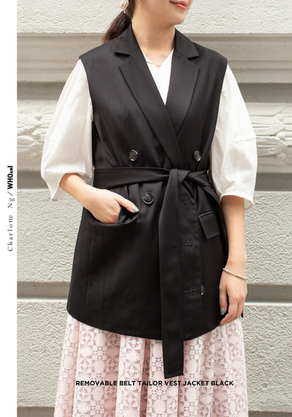 Removable Belt Tailor Vest Jacket Black - whoami