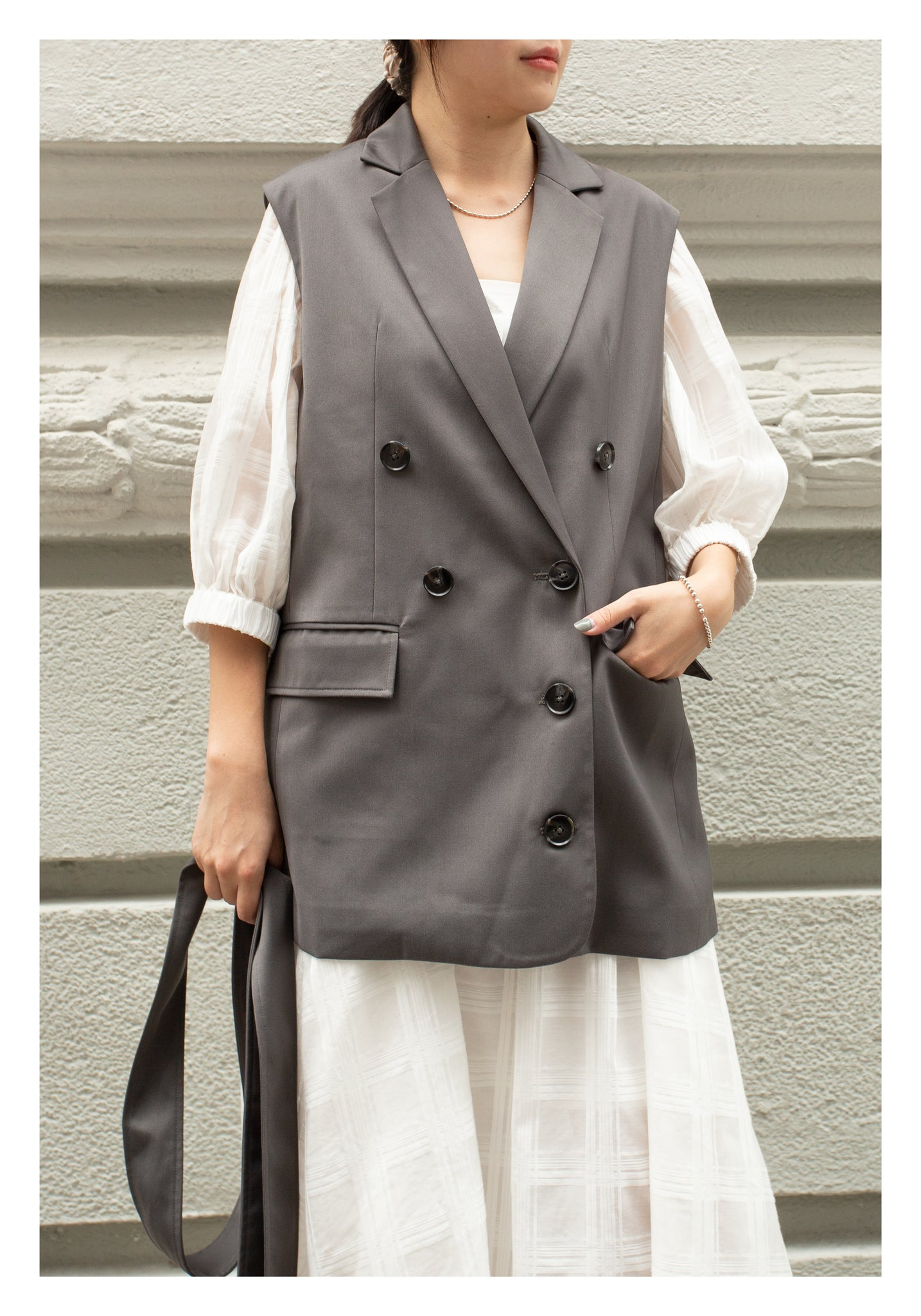 Removable Belt Tailor Vest Jacket Grey - whoami