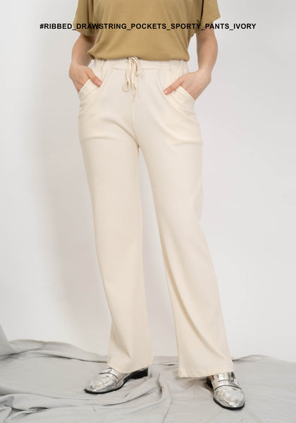Ribbed Drawstring Pockets Sporty Pants Ivory