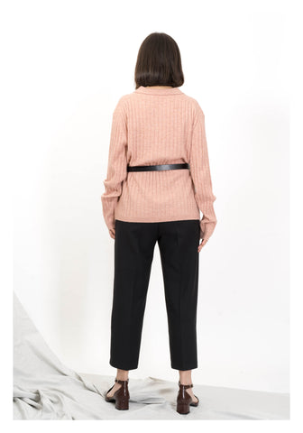 Ribbed Open Polo Collor Knit Top Pink